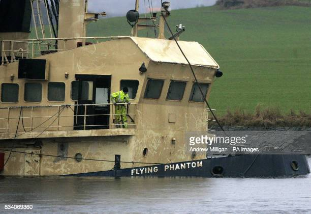 The Flying Phantom tug is seen as the barge GPS Atlas continues its salvage operation on the river Clyde The Flying Phantom tug sank claiming the...