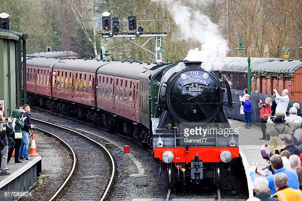 The 'Flying Scotsman' arriving at Pickering Station, North Yorkshire.