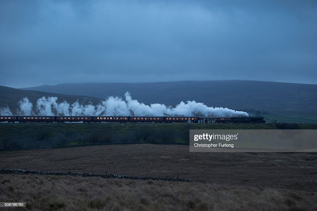 The Flying Scotsman hauls the Winter Cumbrian Mountain Express through Ribblehead on February 6, 2016 in Kendal, England. The Flying Scotsman is doing its first hauls since undergoing a £4.2m decade-long restoration. The legendary locomotive has been brought back to life so it can be exhibited at the National Railway Museum in York.