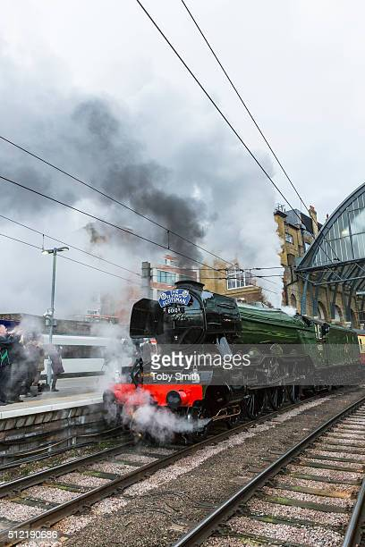 The Flying Scotsman prepares to leave Kings Cross Station on February 25 2016 in London England The Flying Scotsman built in 1923 left King's Cross...