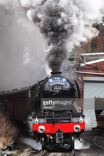 The 'Flying Scotsman' pulling a passenger train at Grosmont, England