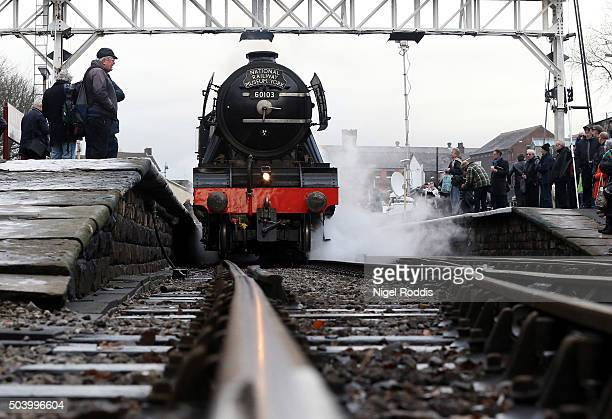 The Flying Scotsman pulls carriages during a test run along the East Lancashire line for the first time in ten years on January 8 2016 in Bury...