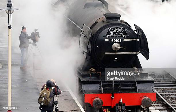 The Flying Scotsman pulls carriages on a test run along the East Lancashire line for the first time in ten years on January 8 2016 in Bury England...