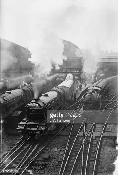 The 'Flying Scotsman' steam locomotive leaves Kings Cross Station London July 1934