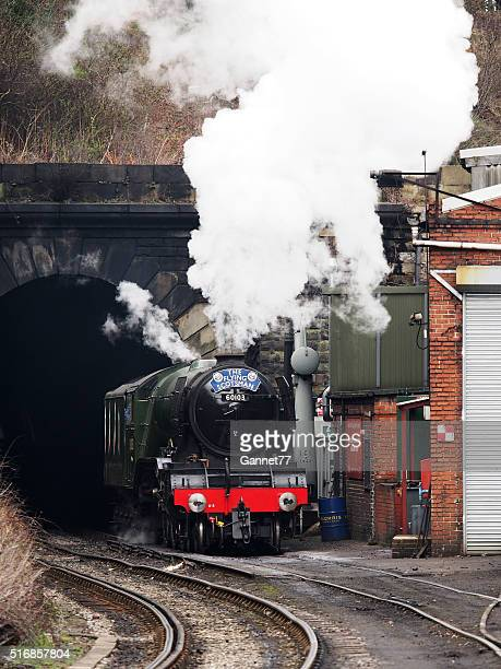 The 'Flying Scotsman' taking on water at Grosmont, England