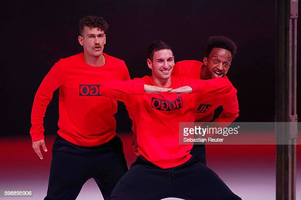 The flying steps perform onthe runway at the Hugo fashion show during the Bread Butter by Zalando at arena Berlin on September 3 2016 in Berlin...