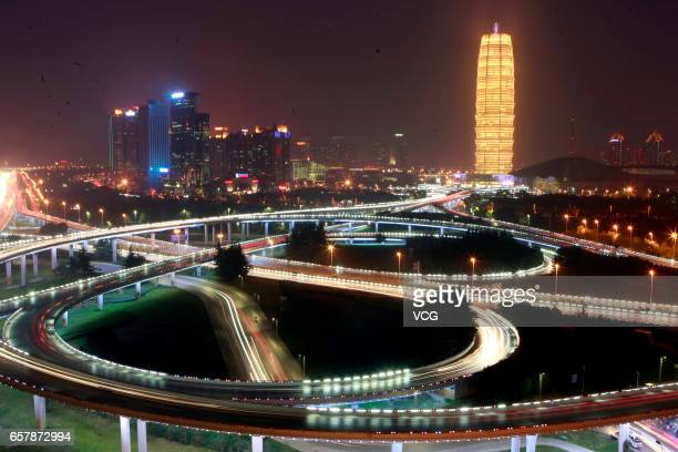 The flyover and buildings at CBD seen before the Earth Hour on March 25 2017 in Zhengzhou Henan Province of China Lights were turned off during the...