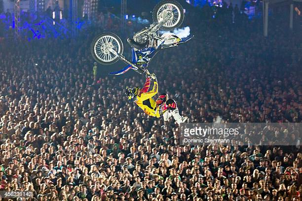 The FMX rider Clinton Moore of Australia during the Crossover Session at freestylech Zurich on September 27 2014 in Zurich Switzerland