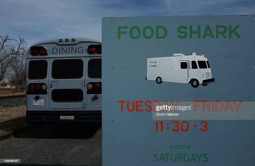 The Food Shark dining bus is seen on Highland Avenue December 26, 2012 in Marfa, Texas. Situated in West Texas, this town of just over 2000 residents has become a popular tourist destination.