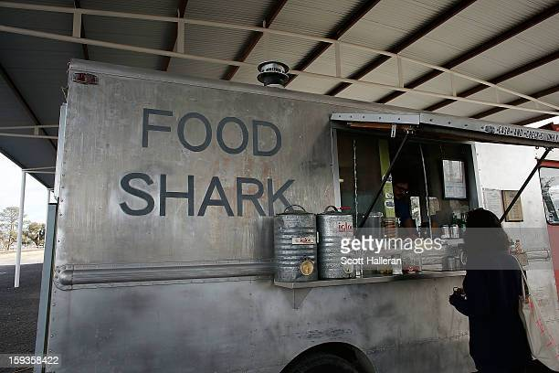 The Food Shark food truck is seen on Highland Avenue December 26 2012 in Marfa Texas Situated in West Texas this town of just over 2000 residents has...