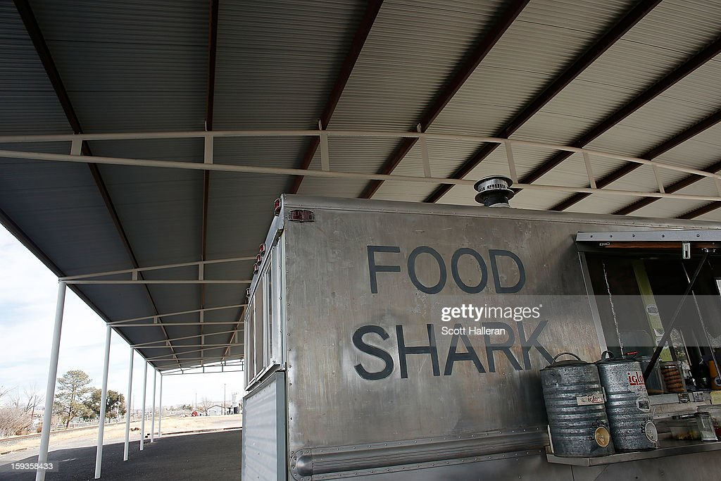 The Food Shark food truck is seen on Highland Avenue December 26, 2012 in Marfa, Texas. Situated in West Texas, this town of just over 2000 residents has become a popular tourist destination.