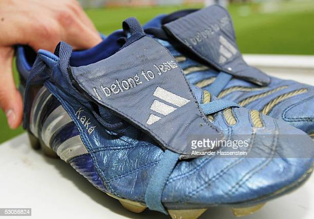 The Football boots of Kaka of Brazil aer seen during the FIFA Confederations Cup 2005 training session of the Brazilian National Team on June 12 2005...