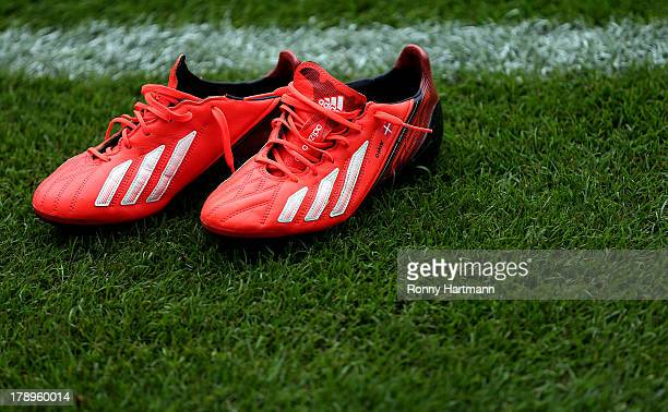 The football boots of Niki Zimling of Mainz pictured prior to the Bundesliga match between Hannover 96 and 1 FSV Mainz 05 at HDI Arena on August 31...