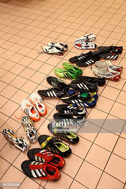 The football boots of Real madrid Legends lie in the dressing room prior to the Laureus KickOffForGood Charity Match between Laureus All Stars...
