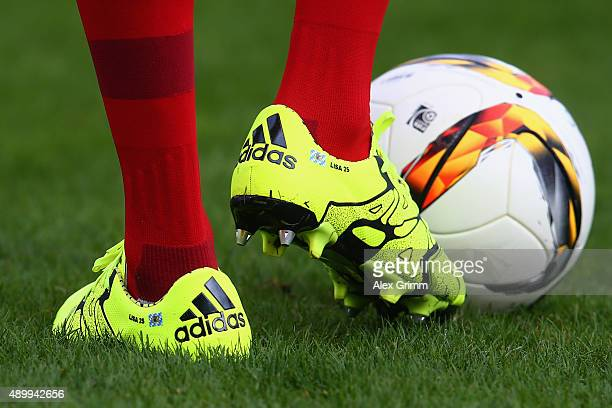 The football boots of Thomas Mueller of Muenchen are seen prior to the Bundesliga match between SV Darmstadt 98 and FC Bayern Muenchen at...