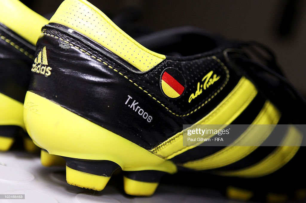 The football boots of Toni Kroos of Germany on display in the dressing room prior to the 2010 FIFA World Cup South Africa Round of Sixteen match between Germany and England at Free State Stadium on June 27, 2010 in Bloemfontein, South Africa.