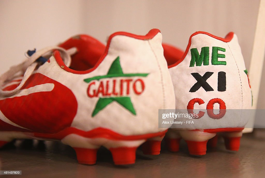 The football boots worn by Mexico players are seen in the dressing room prior to the 2014 FIFA World Cup Brazil Round of 16 match between Netherlands and Mexico at Estadio Castelao on June 29, 2014 in Fortaleza, Brazil.