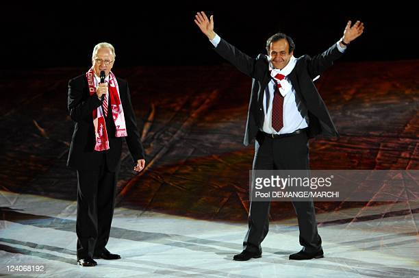 The football club of AS Nancy Lorraine celebtrate their 40 years In Nancy France On November 03 2007 Jacques Rousselot and Michel Platini UEFA's...