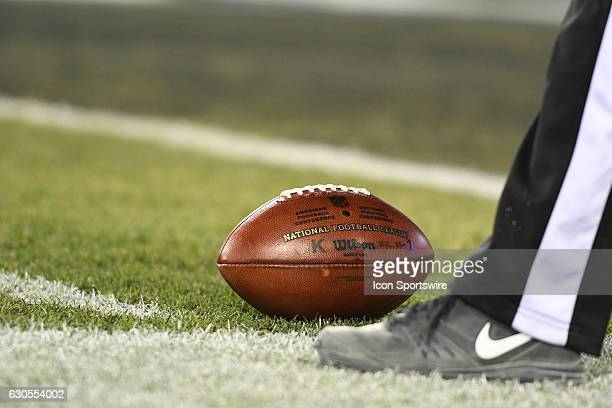 The football is set on the one yard line during a National Football League game between the New York Giants and the Philadelphia Eagles on December...