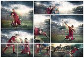 The collage about football player in motion on the field of stadium with lights. The professional football, soccer player and human emotions concept. The attack, defense, fight concepts
