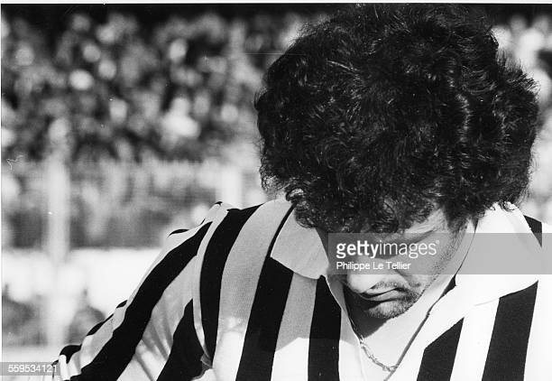 The football player Michel Platini at Juventus in Turin in January 1983
