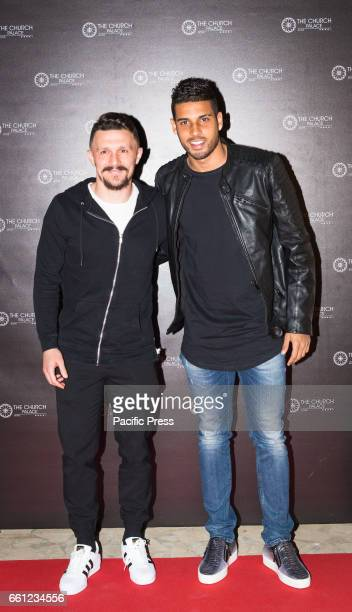 The football players of AS Roma Mario Rui and Emerson Palmieri on the Red Carpet for the premiere of 'Ovunque Tu Sarai'