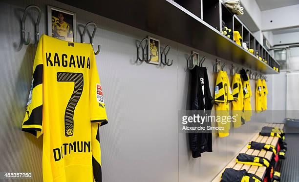 The football shirt of Borussia Dortmund's Shinji Kagawa in the changing room before the Bundesliga match between SC Freiburg and Borussia Dortmund at...