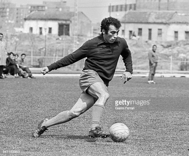 The footballer of Real Madrid Amancio Amaro during a training Madrid Spain