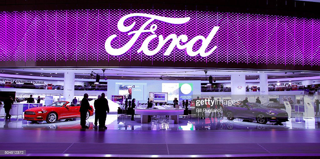 The Ford exhibit is shown on the first day of media preview days at the 2016 North American International Auto Show on January 11, 2016 in Detroit, Michigan. The NAIAS runs from January 11th to January 24th and will feature over 750 vehicles and interactive displays.