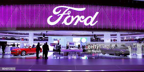 The Ford exhibit is shown on the first day of media preview days at the 2016 North American International Auto Show on January 11 2016 in Detroit...