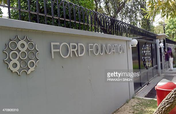 The Ford Foundation logo is pictured outside its office in New Delhi on April 24 2015 India has cracked down on the Ford Foundation saying the US...