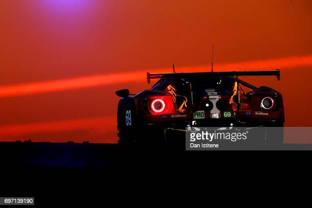 The Ford Ganassi of Ryan Briscoe Scott Dixon and Richard Westbrook drives during the Le Mans 24 Hour Race at Circuit de la Sarthe on June 18 2017 in...