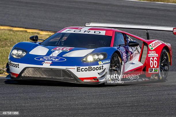The Ford GT of Chip Ganassi Racing races on the track during IMSA testing at Daytona International Speedway on November 17 2015 in Daytona Beach...