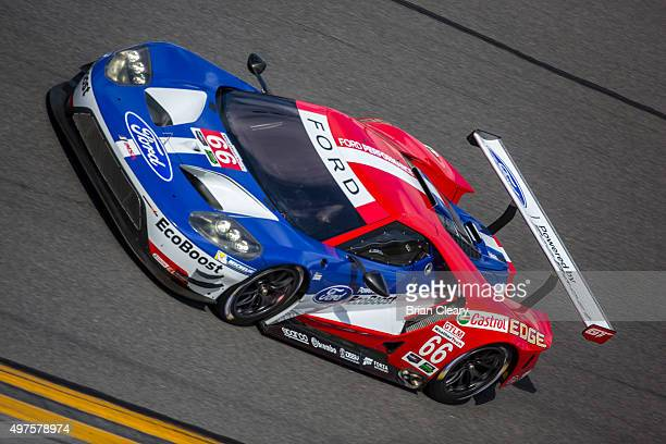 The Ford GT of Chip Ganassi Racing races through the banking during IMSA testing at Daytona International Speedway on November 17 2015 in Daytona...