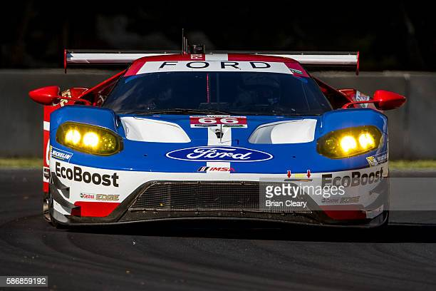 The Ford GT of Joey Hand and Dirk Muller of Germany drives on the track during practice for the IMSA WeatherTech Series race at Road America on...