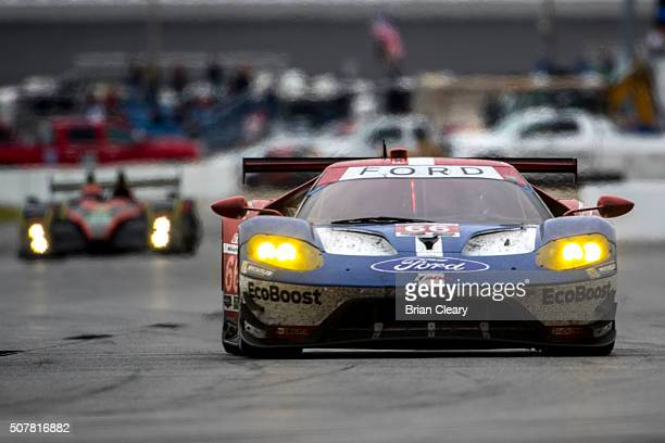 The Ford GT of Joey Hand Sebastien Bourdais and Dirk Muller drives on the track during the Rolex 24 at Daytona IMSA WeatherTech Series race at...