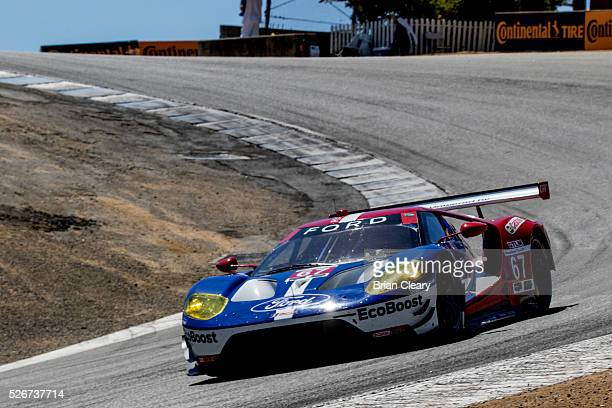 The Ford GT of Ryan Briscoe of Australia and Richard Westbrook of England is shown in action during practice for the IMSA WeatherTech Series race at...