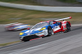 The Ford GT of Ryan Briscoe of Australia and Richard Westbrook of Great Britain races on the track during practice for the IMSA WeatherTech Series...