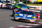 The Ford GT of Ryan Briscoe of Australia and Richard Westbrook of Great Britain races on the track during the IMSA WeatherTech Series race at...