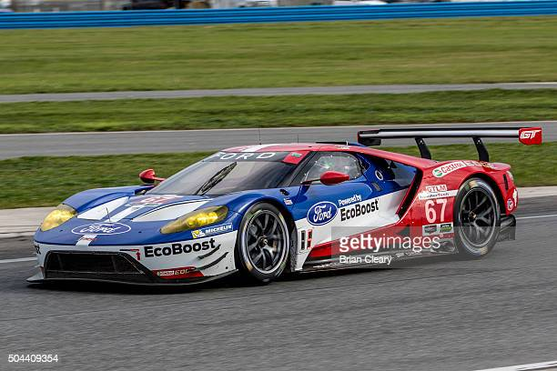 The Ford GT of Ryan Briscoe Richard Westbrook and Stefan Mucke drives on the track during the Roar Before the 24 IMSA WeatherTech Series testing at...