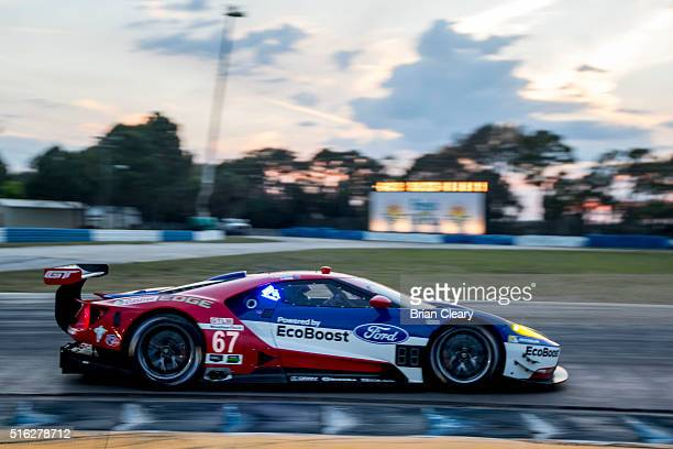 The Ford GT of Ryan Briscoe Scott Dixon and Richard Westbrook races on the track during practice for the 12 Hours of Sebring at Sebring...