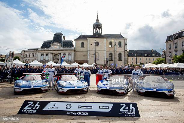 The Ford GT's of the Ford Chip Ganassi Team line up for a team photo at scrutineering on June 12 2016 in Le Mans France