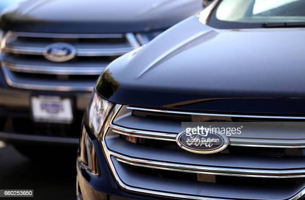 The Ford logo is displayed on a new Ford car on the sales lot at a Ford dealership on March 29 2017 in Colma California Ford announced that it is...