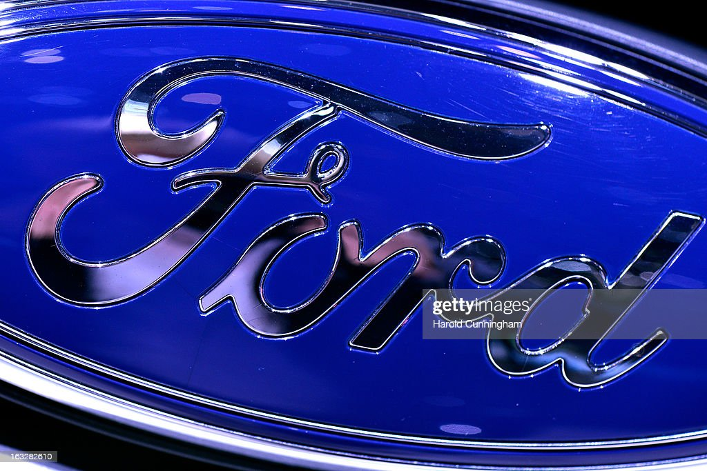 The Ford logo is seen during the 83rd Geneva Motor Show on March 6, 2013 in Geneva, Switzerland. Held annually with more than 130 product premiers from the auto industry unveiled this year, the Geneva Motor Show is one of the world's five most important auto shows.