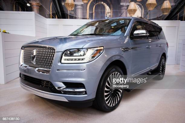 The Ford Motor Co Lincoln Navigator sports utility vehicle is displayed during an event ahead of the 2017 New York International Auto Show in New...