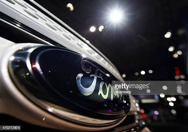 The Ford Motor Co logo is displayed on a vehicle at a media event ahead of the 16th Shanghai International Automobile Industry Exhibition in Shanghai...