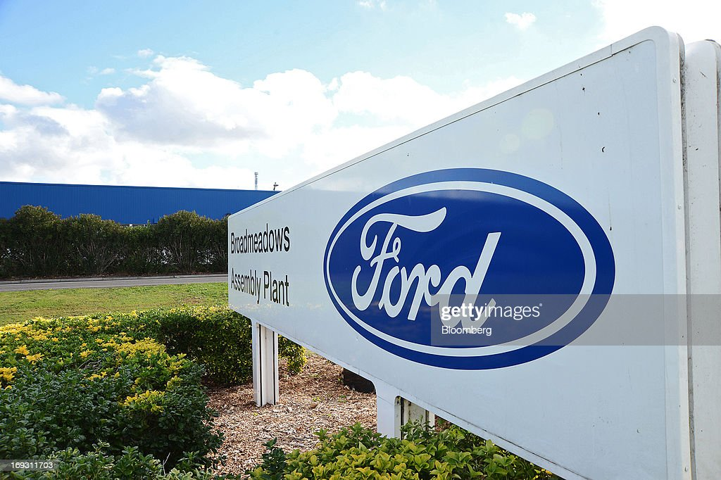 The Ford Motor Co. logo is displayed on signage outside the company's Broadmeadows assembly plant in Melbourne, Australia, on Thursday, May 23, 2013. Ford will stop making cars in Australia, nine decades after founder Henry Ford first began building Model Ts in the country, as a surge in the currency undermines the local industry's ability to compete with imports. Photographer: Carla Gottgens/Bloomberg via Getty Images