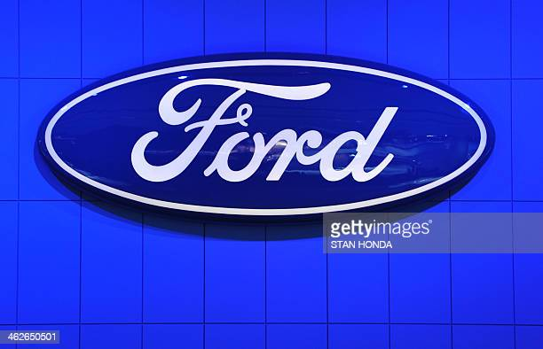 The Ford Motor Company logo is seen during a press preview at the North American International Auto Show January 14 2014 in Detroit Michigan AFP...