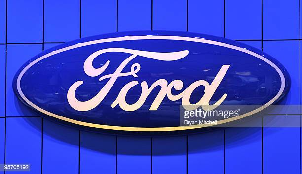 The Ford Motor Company oval seen on the show floor during the press preview for the world automotive media during the North American International...