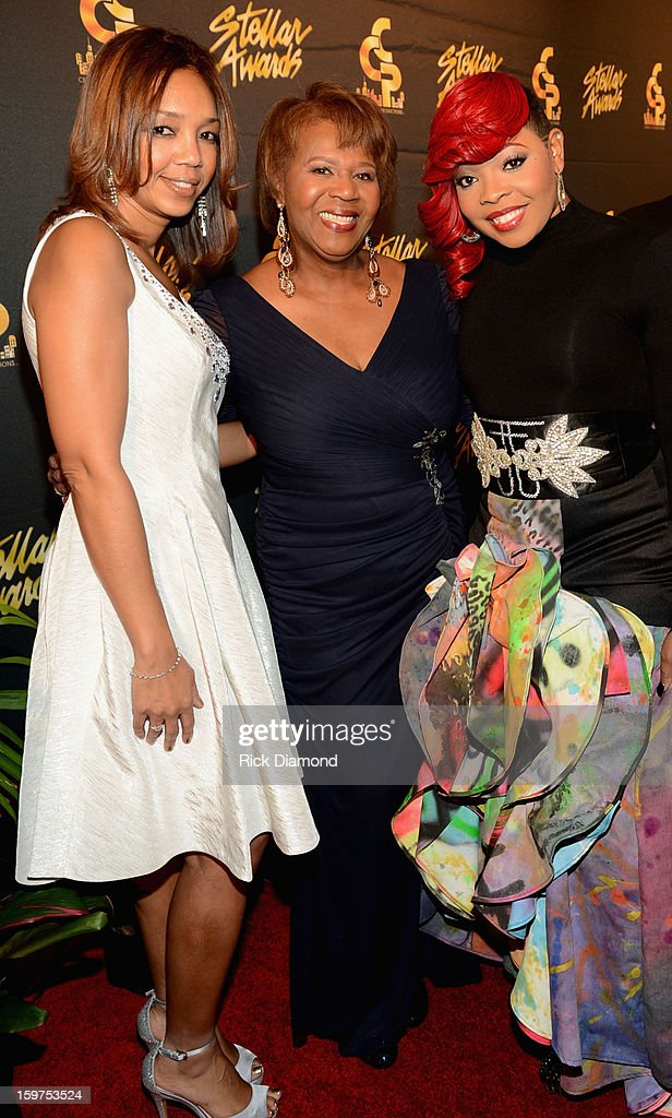 The Ford Motor Company's Multi-Cultural Marketing Manager Shawn Thompson, Central City Productions President & COO Erma Davis, and Alexis Spight arrive to the 28th Annual Stellar Awards Red Carpet at Grand Ole Opry House on January 19, 2013 in Nashville, Tennessee.